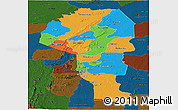 Political Panoramic Map of Atakora, darken