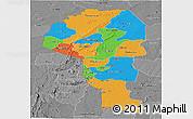 Political Panoramic Map of Atakora, desaturated