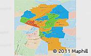 Political Panoramic Map of Atakora, lighten