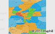 Political Panoramic Map of Atakora, political shades outside