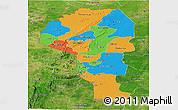 Political Panoramic Map of Atakora, satellite outside