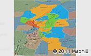 Political Panoramic Map of Atakora, semi-desaturated