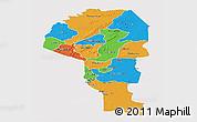 Political Panoramic Map of Atakora, single color outside