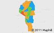 Political Simple Map of Atakora, single color outside