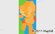 Political Shades Simple Map of Atakora, political outside