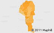 Political Shades Simple Map of Atakora, single color outside