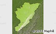 Physical Map of Tanguieta, darken