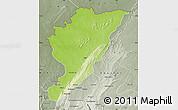 Physical Map of Tanguieta, semi-desaturated