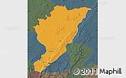 Political Map of Tanguieta, darken, semi-desaturated