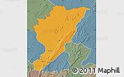 Political Map of Tanguieta, semi-desaturated