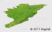 Satellite Panoramic Map of Tanguieta, cropped outside