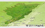 Satellite Panoramic Map of Tanguieta, physical outside