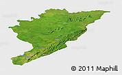 Satellite Panoramic Map of Tanguieta, single color outside