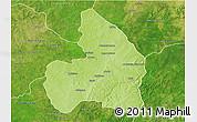 Physical 3D Map of Kandi, satellite outside