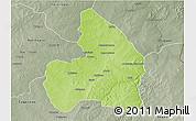 Physical 3D Map of Kandi, semi-desaturated