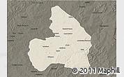 Shaded Relief 3D Map of Kandi, darken