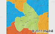 Physical Map of Kandi, political outside