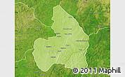 Physical Map of Kandi, satellite outside