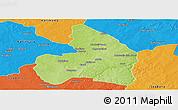 Physical Panoramic Map of Kandi, political outside