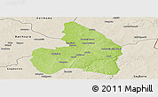 Physical Panoramic Map of Kandi, shaded relief outside