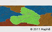 Political Panoramic Map of Kandi, darken