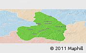 Political Panoramic Map of Kandi, lighten