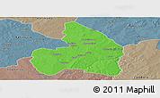 Political Panoramic Map of Kandi, semi-desaturated