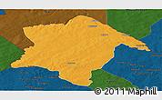 Political Panoramic Map of Karimama, darken