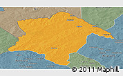 Political Panoramic Map of Karimama, semi-desaturated