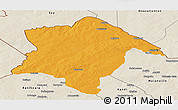 Political Panoramic Map of Karimama, shaded relief outside