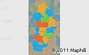 Political Map of Borgou, semi-desaturated