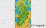 Satellite Map of Borgou, political outside