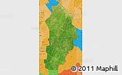 Satellite Map of Borgou, political shades outside