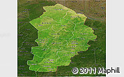 Satellite Panoramic Map of Borgou, darken