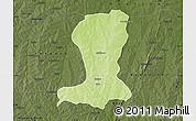 Physical Map of Sinende, darken