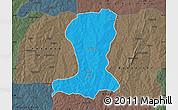 Political Map of Sinende, darken, semi-desaturated