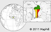 Flag Location Map of Benin, blank outside