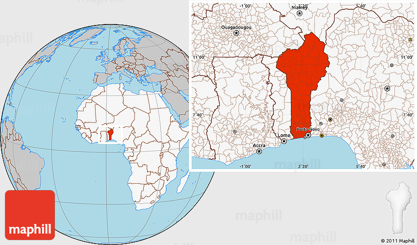Gray Location Map of Benin highlighted continent