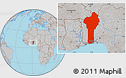 Gray Location Map of Benin