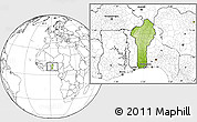 Physical Location Map of Benin, blank outside