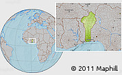 Physical Location Map of Benin, gray outside, hill shading