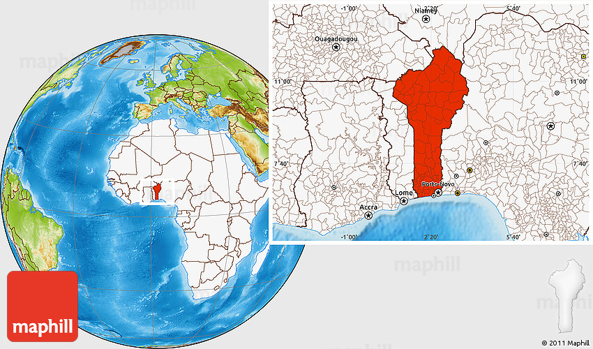 Physical Location Map of Benin highlighted continent