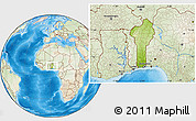 Physical Location Map of Benin, lighten, land only