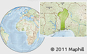 Physical Location Map of Benin, lighten