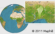 Physical Location Map of Benin, satellite outside