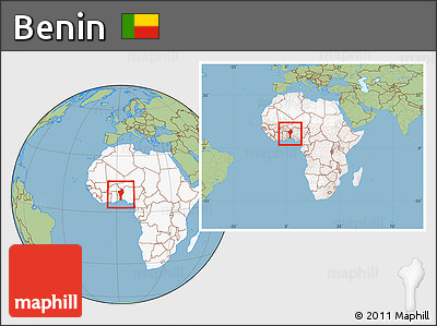 Free Savanna Style Location Map of Benin highlighted continent