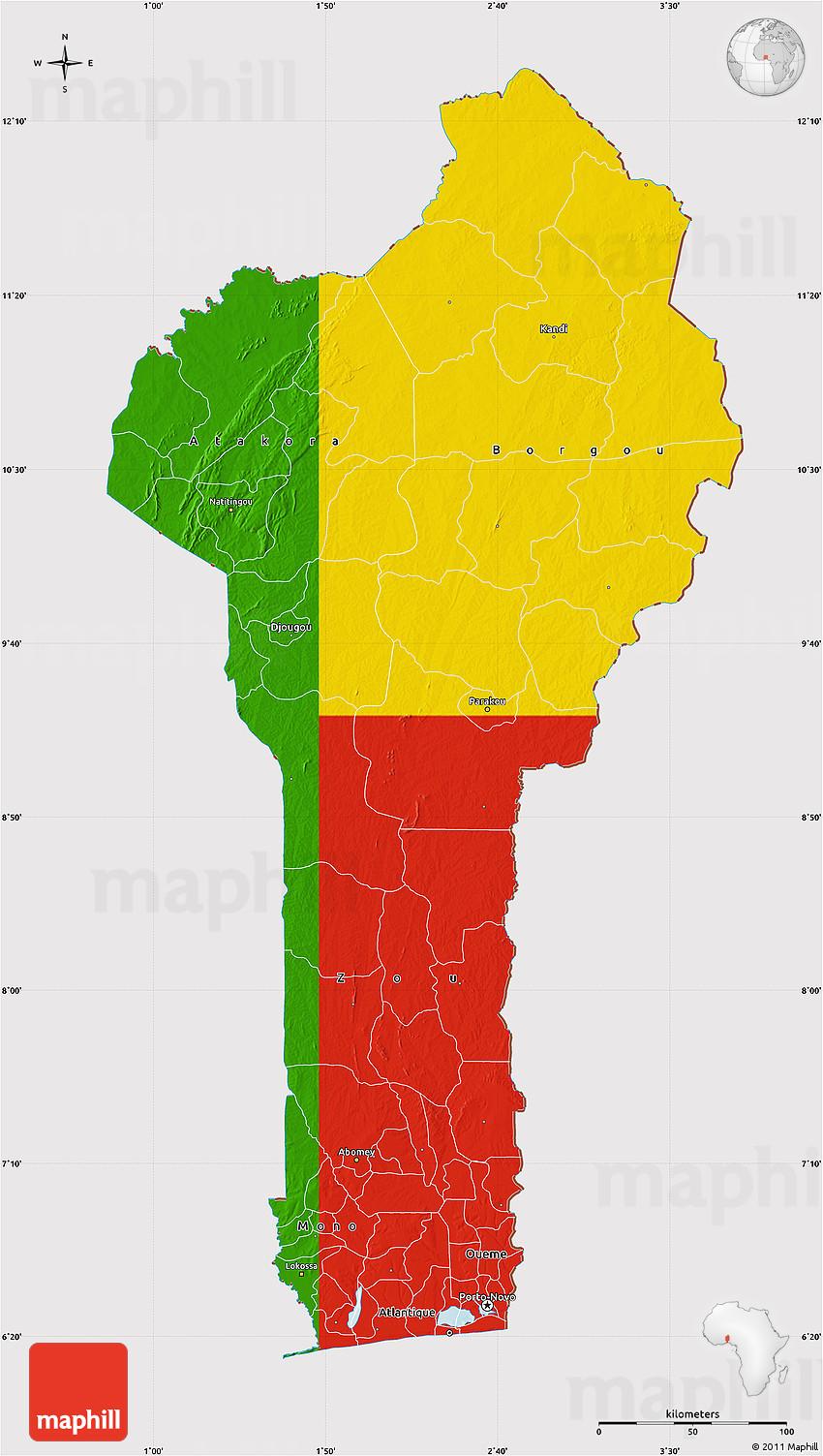 Flag Map of Benin
