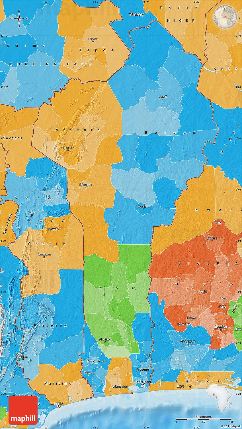 Political Map of Benin