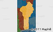 Political Shades Map of Benin, darken