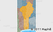 Political Shades Map of Benin, semi-desaturated, land only